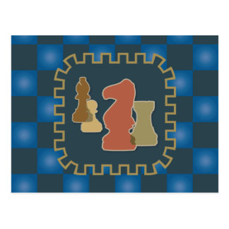 Chess Pieces Blue Postcard