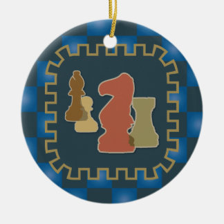 Chess Pieces Blue Round Ornament