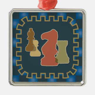 Chess Pieces Blue Square Ornament