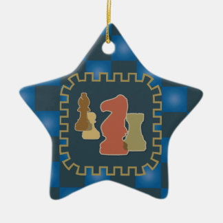 Chess Pieces Blue Star Ornament