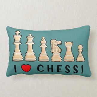 Chess Pieces: I Love Chess! Lumbar Pillow