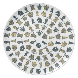 Chess Pieces in Circles Plate