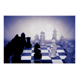 chess pieces in purple poster