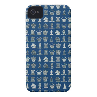 Chess Pieces in Rows Blue iPhone 4 Case