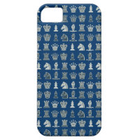 Chess Pieces in Rows Blue iPhone 5 Case