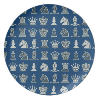 Chess Pieces in Rows Blue Plate