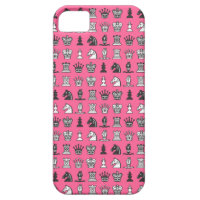 Chess Pieces in Rows Pink iPhone 5 Case