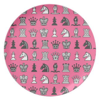 Chess Pieces in Rows Pink Plate