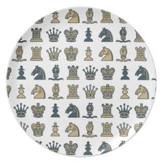 Chess Pieces in Rows Plate