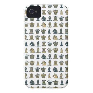Chess Pieces in Rows White iPhone 4 Case