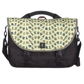 Chess Pieces in Waves Yellow Laptop Bag