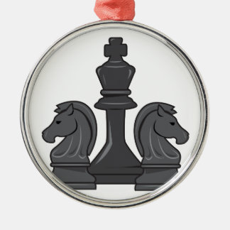 Chess Pieces Metal Ornament