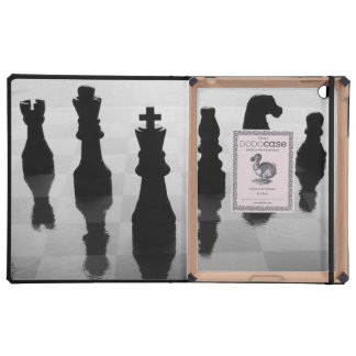 Chess pieces on chess board in black and white iPad cases