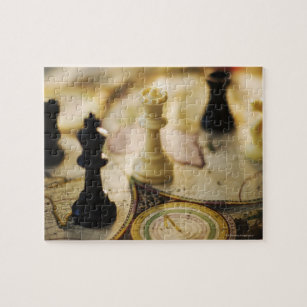 Old world map jigsaw puzzles zazzle chess pieces on old world map jigsaw puzzle gumiabroncs Gallery