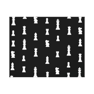 Chess pieces pattern - black and white stretched canvas prints