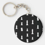 Chess pieces pattern - black and white key chains