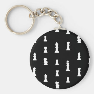 Chess pieces pattern - black and white keychain