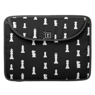 Chess pieces pattern - black and white MacBook pro sleeve