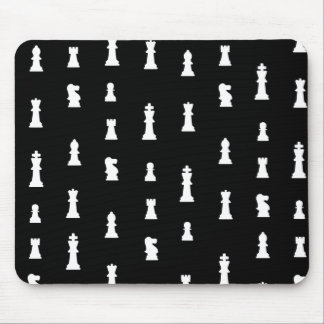 Chess pieces pattern - black and white mouse pad