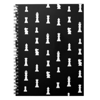 Chess pieces pattern - black and white note book