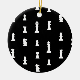 Chess pieces pattern - black and white christmas tree ornaments