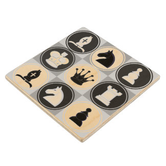 Chess Pieces Pattern Wood Coaster