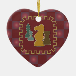 Chess Pieces Red Heart Ornament