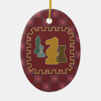 Chess Pieces Red Oval Ornament
