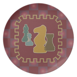 Chess Pieces Red Plate