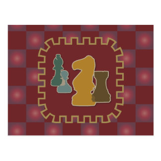 Chess Pieces Red Postcard