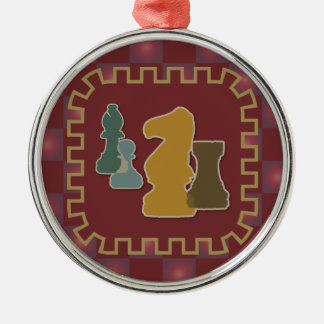 Chess Pieces Red Premium Round Ornament