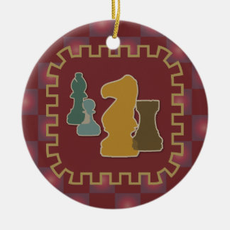 Chess Pieces Red Round Ornament