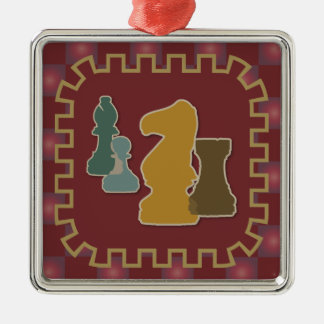 Chess Pieces Red Square Ornament