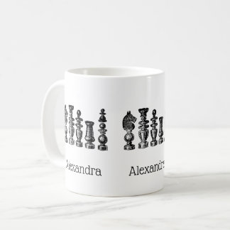 Chess Pieces Vintage Art Coffee Mug