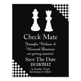 Chess Pieces Wedding Save The Date Announcement