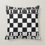 Chess Pillow in Black and White