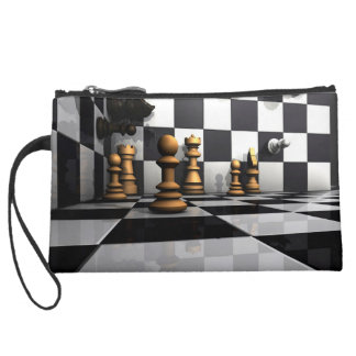 Chess Play King Suede Wristlet Wallet