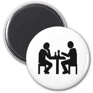 Chess player 2 inch round magnet