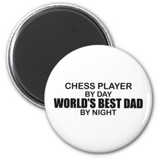 Chess Player World's Best Dad by Night 2 Inch Round Magnet