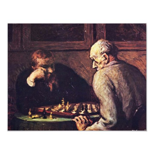Chess Players By Daumier Honoré 4.25x5.5 Paper Invitation Card
