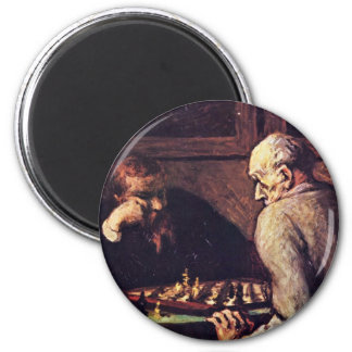 Chess Players By Daumier Honoré Refrigerator Magnets