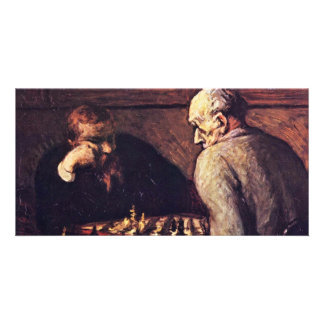 Chess Players By Daumier Honoré Photo Card