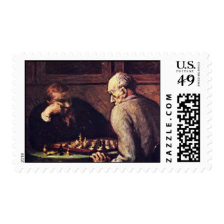 Chess Players By Daumier Honoré Stamp