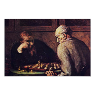 Chess Players By Daumier Honoré Poster