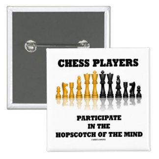 Chess Players Participate In The Hopscotch Of Mind 2 Inch Square Button
