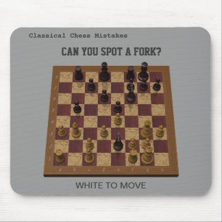 Chess Position - Can You Spot a Fork? Mouse Pad