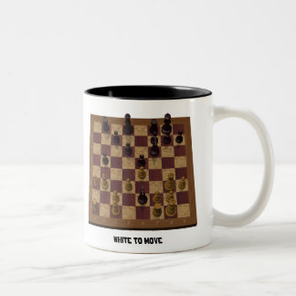 Chess Position - Can You Spot a Fork? Two-Tone Coffee Mug