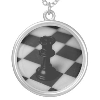 Chess queen silver plated necklace