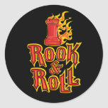 Chess Rook & Roll Round Stickers