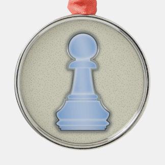 Chess Shiny Blue Glass Chess Pawn Metal Ornament